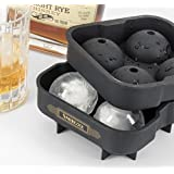 """Silicone Sphere Ice Mold (No BPA, Food Grade) - Home Kitchen Bartending Supplies to Create the Perfect Margarita, Mojito or Other Cocktail - Excellent Whiskey Ball Maker Round Ice """"Cube"""" Tray - Libation Inspiration Beverage Chiller"""