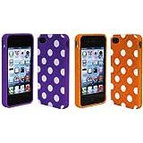 Importer520 2in1 Combo Purple Orange Polka Dot Flex Gel Case for Iphone 4 & 4S