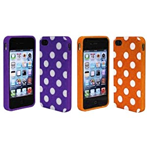 Importer520 2in1 Combo Purple Orange Polka Dot Flex Gel Case for Iphone 4 & 4S