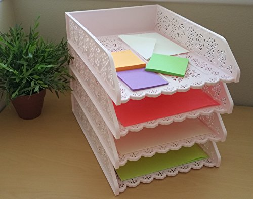 4 Pack Stackable Letter Tray. Desk Office File Document Paper Holder Organizer (Pink)