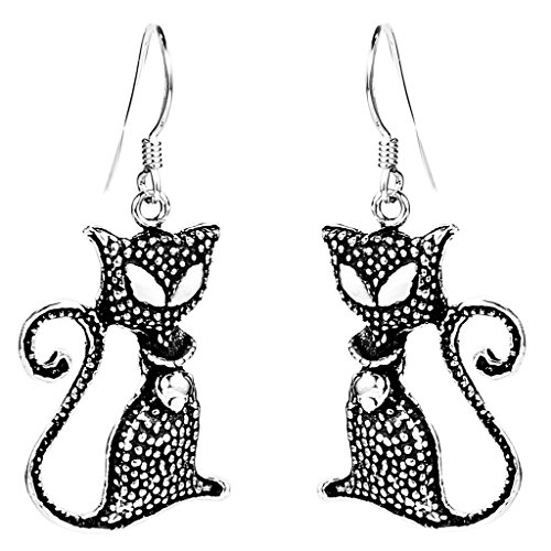 925 Sterling Silver Vintage Inspired Black Cat with Bell Hook Dangle Cat Earrings