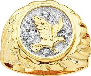 Mens Diamond Eagle Ring 10k Yellow Gold Band Genuine (0.10 Carat), Size 8