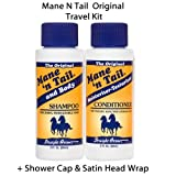 Mane N Tail Travel Kit Set 2oz (Original) with Head Wrap and Shower Cap