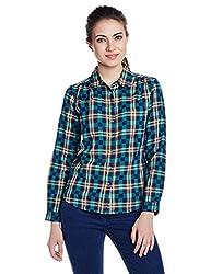 Wrangler Women's Button Down Shirt (WRSH5914_Green_S)