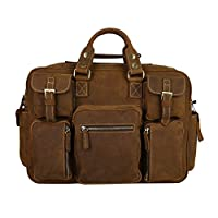 "Men's Crazy-horse Leather Briefcase Luggage Handbag Shoulder Bag, Fit 16.5"" Laptop by Kattee"
