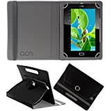 Acm Rotating 360° Leather Flip Case For Datawind Ubislate 7w Tablet Cover Stand Black