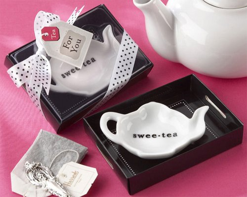 Swee-Tea Ceramic Tea-Bag Caddy In Black And White Serving-Tray Gift Box [Set Of 24]
