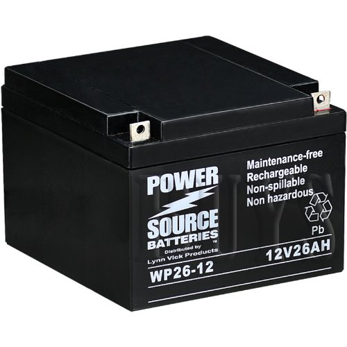 WP26-12 Sealed AGM 12v 26ah Battery replaces M12260 SLD M, ES26-12, GP12240, GP12260, GPL12260, EVX12260, PE12V24A, TEV12260, TEV12240, PE12V26A, 6-GFM-24, PS-12260 NB, UB12260, WKA12-26NB, BSL1146, DCM0026, SLA1146, SLA1145, BP24-12, BP26-12, 12V26AH, S