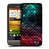 Head Case Printed Spark Red And Blue Studded Ombre Back Case Cover For Htc One V