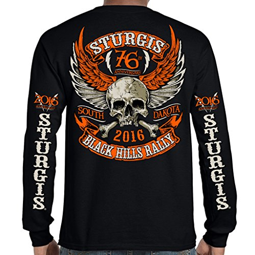 Biker Life USA 2016 Sturgis Orange Skull Wings Long Sleeve Shirt