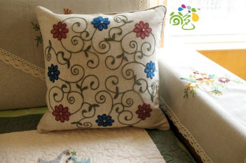 Woollen Embroided Pink/blue Flowers vine Cushion Cover/Pillow