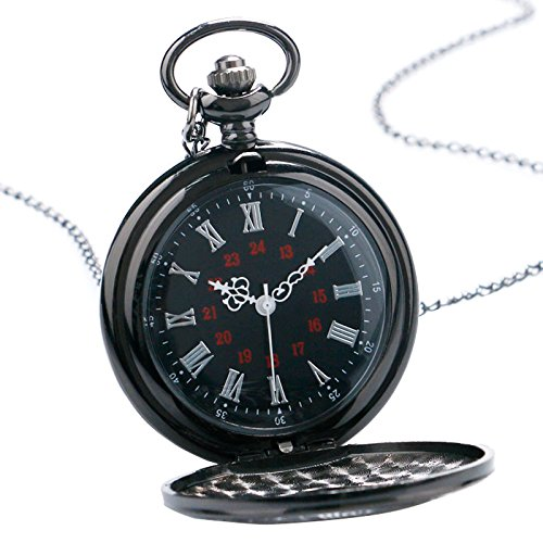 HJIAN Pocket Watch Black Roman Retro Vintage Quartz Pocket Watch Roman Numerals Steampunk Fob Watch 4