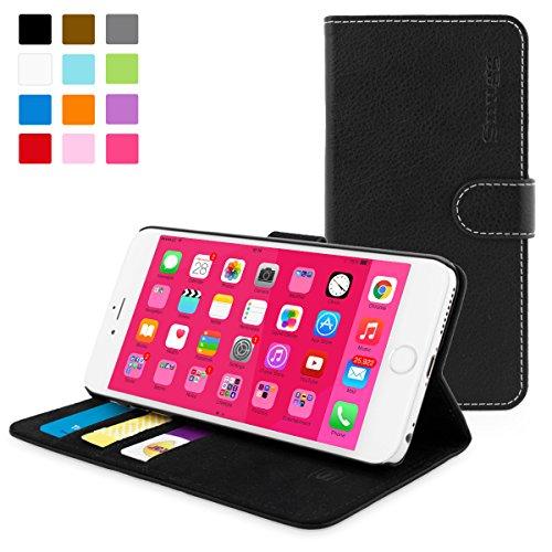 英国Snugg製 iPhone6 Plus用 PUレザー 手帳型 ケース 生涯補償付き(ブラック)