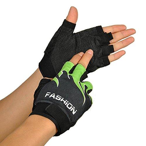 Kinghard Outdoor Sports Biking Hiking Gel Half Finger Gloves (Green)