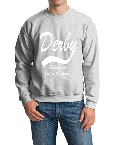 "DERBY Probably The Best City In The World Mens SweatShirt White Ash M To Fit Chest 38-40"" (96-101cm)"