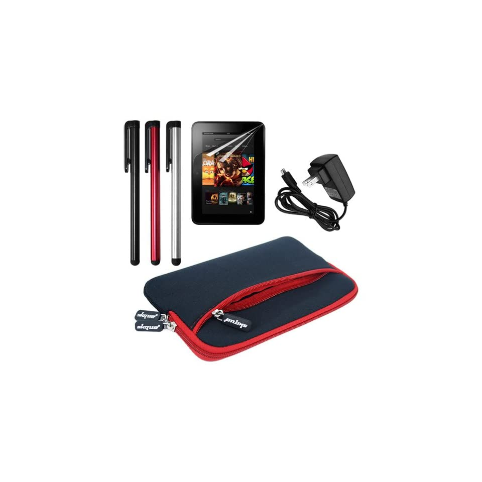 Skque Dual Pocket Sleeve Case(Black with Red Trim) + Clear Crystal Screen Protector Film + Micro USB Home Travel Wall Charger + 3 Packs Touch Screen Stylus Pen for  Kindle Fire HD 7 Inch Tablet