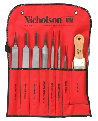 "Nicholson Machinist File Kit Without Handle, 8-Piece, 7"" Length/10"" Length"