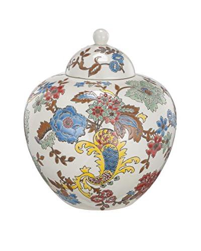 David Tutera Lidded Ceramic Jar, Multi Floral