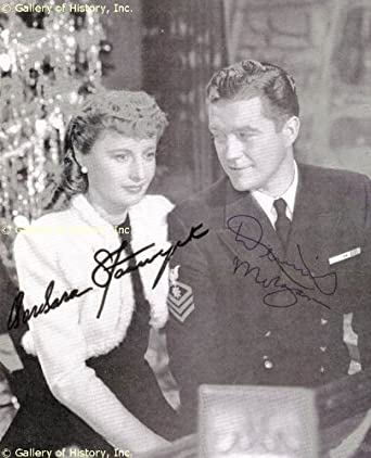 CHRISTMAS IN CONNECTICUT MOVIE CAST - MAGAZINE PHOTOGRAPH SIGNED CO-SIGNED BY: DENNIS MORGAN, BARBARA STANWYCK