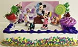 Minnie Mouse Pet Shop 13 Piece Birthday Cake Topper Set Featuring Minnie Mouse, Daisy Duck, Clarabelle Cow, Mickey Mouse, Pluto, Figaro Themed Decorative Accessories - Cake Topper Includes All Items Shown