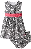 Calvin Klein Baby-Girls Infant Black White Flower Print Dress with Panty, Black/White, 18 Months