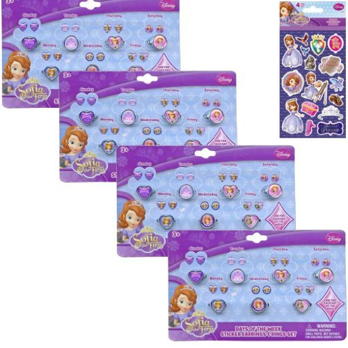4-pack Disney Jr. Princess Sofia The First Jewelry Accessory Party Set for Kids - Princes Sofia Days of the Week Sticker Earrings and Rings Set for Kids - Party 4-pack PLUS 1 Pack of Sofia The First Stickers