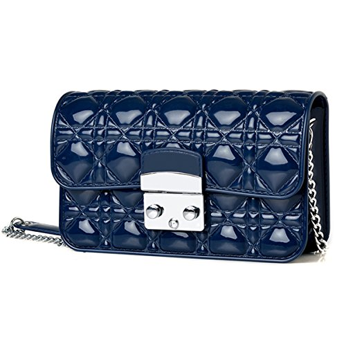 New Fashion Handbags Women Hand Clutch Purse Candy Colors Rhombus Women's wallet Jelly Shoulder Bag (Navy) (Jelly Handbags Furla compare prices)