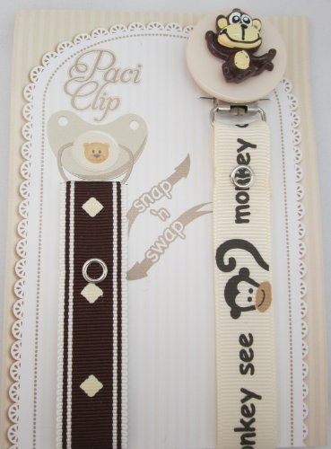 Beige Monkey Ribbon Pacifier Clip
