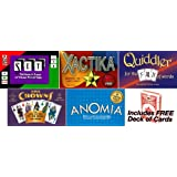 Set Games Combo - Set, Quiddler, Five Crowns, Xactica, Anomia. Plus Free deck of cards!