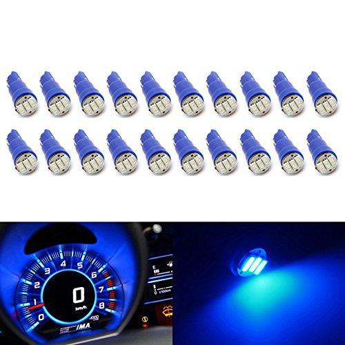 Partsam 20X Blue T5 Wedge 3-Smd 1206 Speedometer Gauge Cluster Led Light Bulb 57 37 73 257