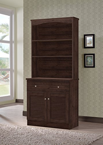 Wholesale Interiors Agni Buffet and Hutch Kitchen Cabinet, Dark Brown (Cabinet And Hutch compare prices)