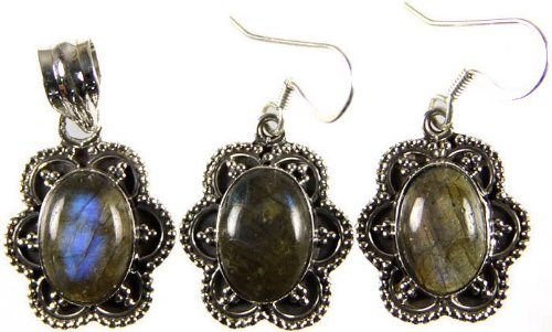 Labradorite Pendant with Matching Earrings Set - Sterling Silver