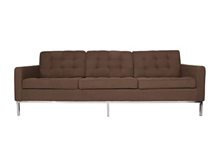 LeisureMod Modern Florence Style Sofa in Choclate Brown Wool