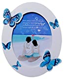 UberLyfe Oval Shaped with Blue Butterflies Photo Frame - 13cm x 18cm