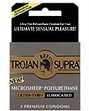 Trojan Supra Premium Non Latex Condoms, Microsheer Polyurethane - 3 Each/Pack, 6 Pack
