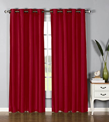 Window Elements Jane Faux Silk Grommet Extra Wide 54 x 95 in. Curtain Panel, Burgundy (Red Faux Silk Curtain Panels 95 compare prices)