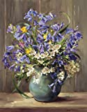 Flower Print by Anne Cotterill. Signed Lithographic Print. Bluebells and May Blossom