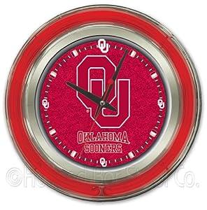 NCAA Oklahoma Sooners Double Neon Ring 15-Inch Diameter Logo Clock by Holland Bar Stool Company
