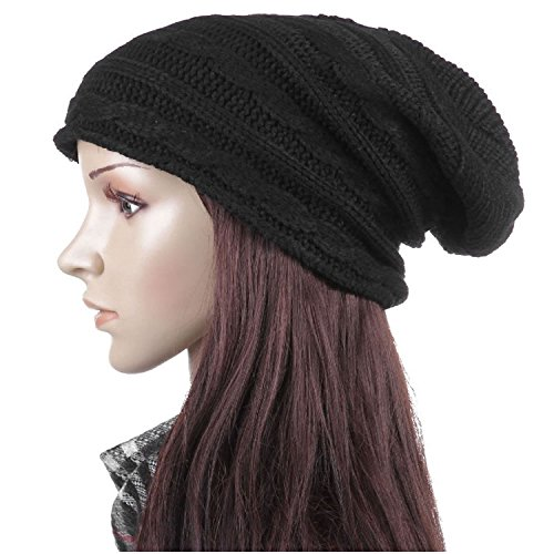 FuzzyGreen® Fashion Unisex Cable Knit Crochet Baggy Slouch Winter Hat Cap Beret Beanie (Extra Large Beanie Hat compare prices)