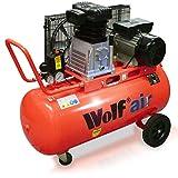 Wolf Dakota 90L 14cfm 3HP 240v Twin Cylinder Pump Air Compressor - Belt Driven, Operates upto 10Bar (150psi)
