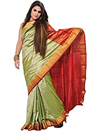 Exotic India Lint-Green Saree From Bangalore With Woven Bootis And Broca - Green