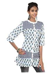 Rajrang Cotton Blue, White Screen Printed Tunic Top