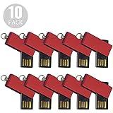 ABAZAR 10pcs 8gb Usb Flash Drive Usb 2.0 Flash Drive Memory Stick Fold Storage Thumb Stick Pen Swivel Design Red...