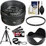 Canon EF 50mm f/1.4 USM Lens with UV Filter + Hood + Tripod + Accessory Kit for EOS 60D, 7D, 5D Mark II III, Rebel...