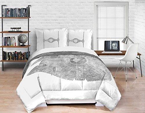 Star Wars Black/White/Grey Classic Full/Queen Comforter Set (Comforter with 2 Shams) (Star Wars Quilt Queen compare prices)