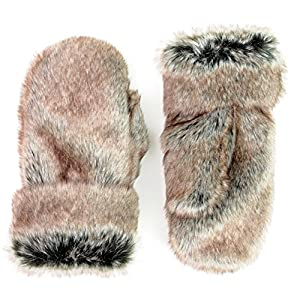 Futrzane Winter Gloves Fur Mittens Faux Rabbit Fur High Quality for Women Men (Gray with Brown)