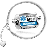 Charm Set Medical Alert Blue Dairy Allergy - Bead comes with Bracelet , Neonblond by NEONBLOND