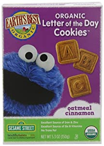 Earth's Best Organic Oatmeal Cinnamon Letter of the Day Cookies, 5.3 Ounce Boxes (Pack of 6)