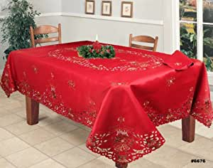 Holiday christmas embroidered poinsettia for 12 days of christmas table cloth