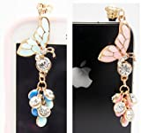 2 Pcs Luxury Pink Butterfly + Blue Butterfly 3.5mm Anti Dust Jack Plug Stopper Earphone Cap Charm For Apple iPhone 3 3G 3GS 4 4GS 4S 5 / iPad mini /iPad 1 2 3 /samsung galaxy S2 i9100 i9220 S3 I9300 tab n7000 Note 2 N7100/ htc sensation xl, DESIRE HD ONE